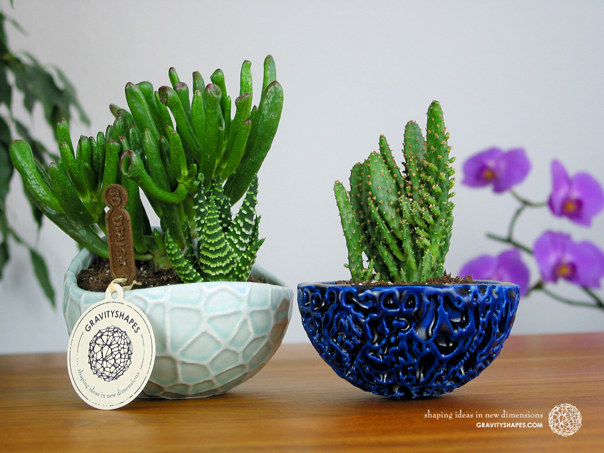 Porcelain Plant-pot in Water-Look (size XL – Gloss Celadon Green) and Little Galaxy Plant Pot