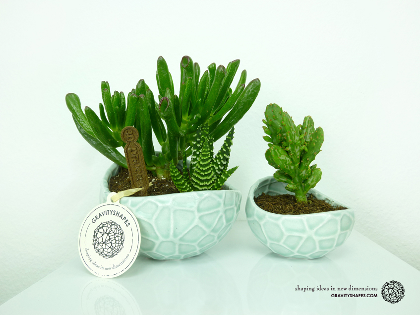 Porcelain Plant-pot in Water-Look (size XL and small – Gloss Celadon Green)