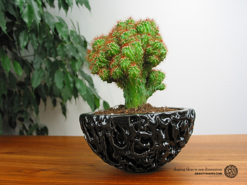 Galaxy Porcelain Pot (Gloss Black)