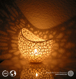 Filigree double wall tealight holder (Nylon, white)