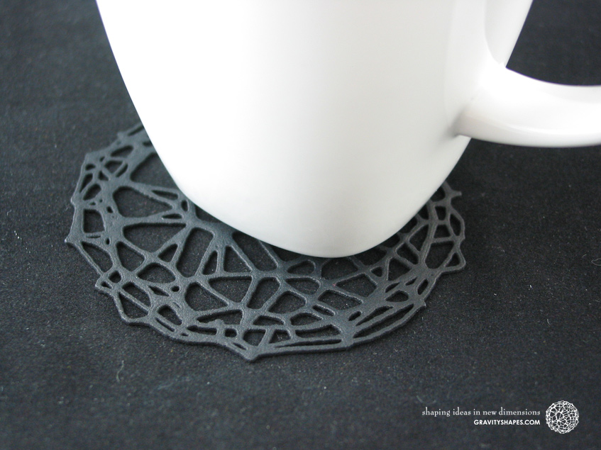 Drink coaster – Voronoi #9 (8 cm, thin) – Nylon