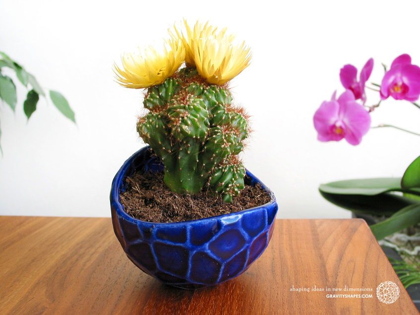 Porcelain plant pot in Water-Look #13 round small (Cobalt Blue)