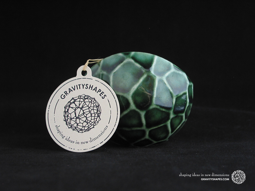 Porcelain plant pot in Water-Look #13 round small (Oribe Green)