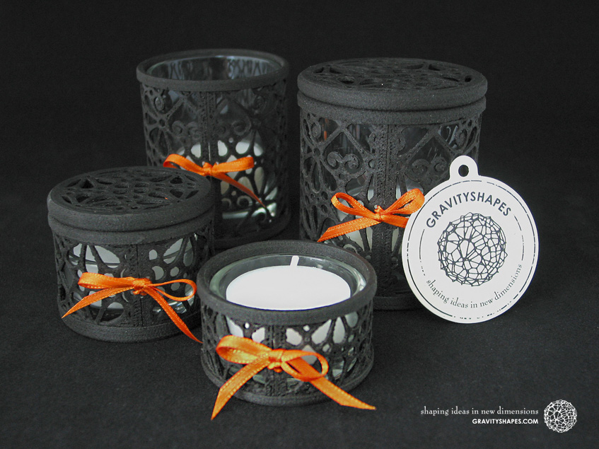 Small and large Tealight holders with and without lid, laced in black wood (Mosaic No. 3)