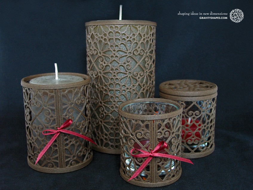 3D printed brown wood Candle holders and Tealight holders (Mosaic No. 3)