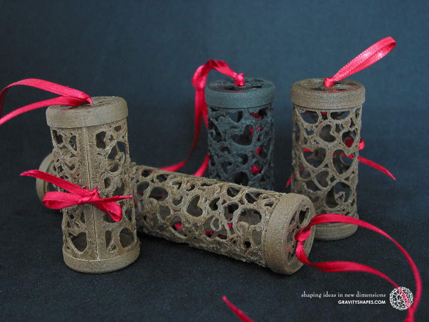 Wooden gift rolls with heart patterns
