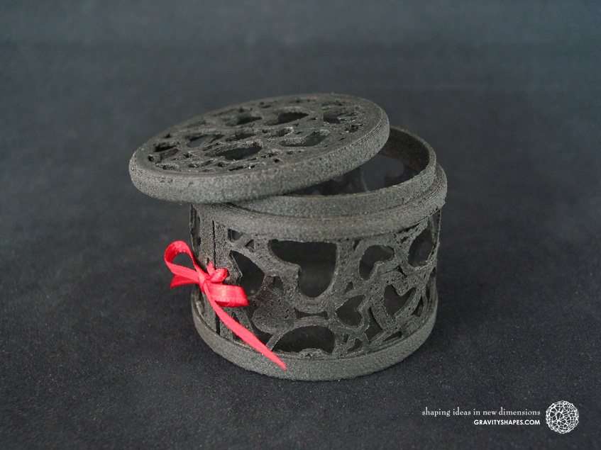Black wooden gift box No. 116 with hearts