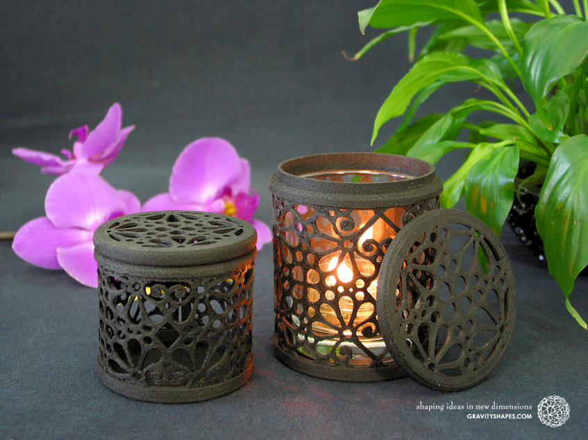 3D printed black wood Tealight holder box and gift box (Mosaic No. 3)