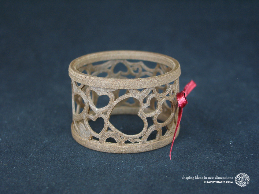 Napkin ring laced, brown wood with hearts