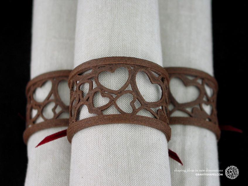 Napkin rings laced, brown wood with hearts