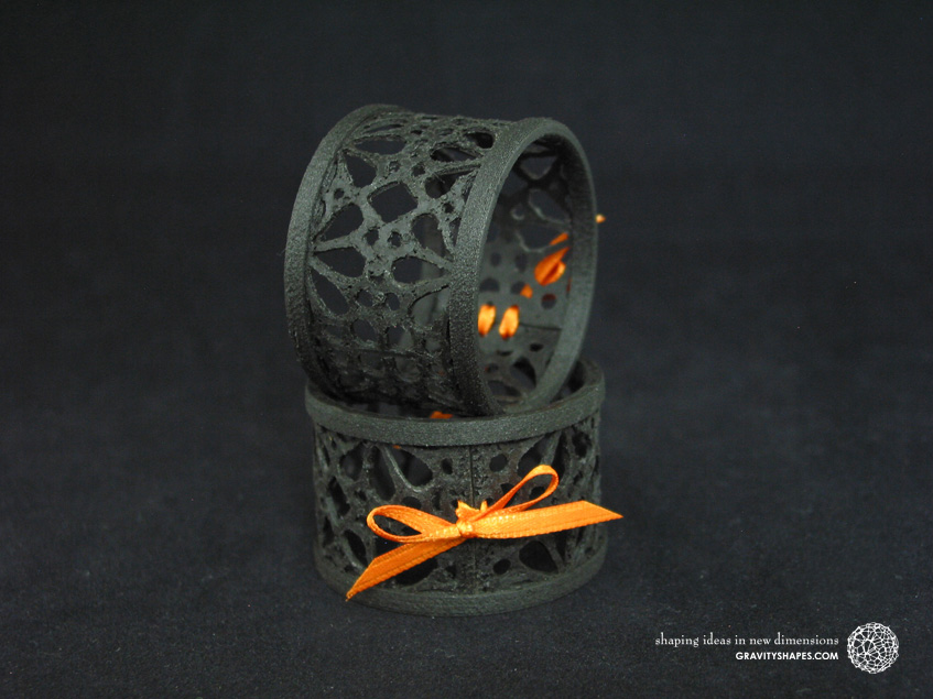 Napkin rings laced, black wood with mosaik