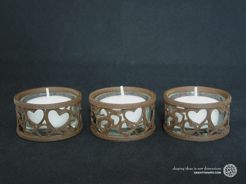Mini tealight holders with glass, laced, brown