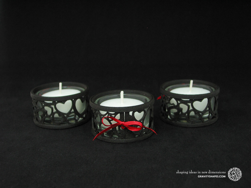 Mini tealight holders with glass, laced, black