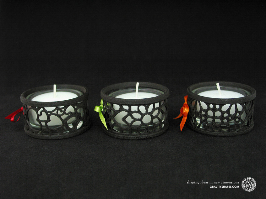 Mini tealight holders with glass, laced