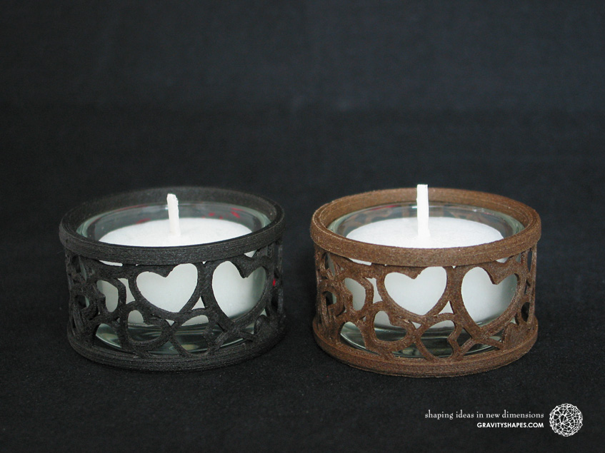 Mini tealight holders with glass, laced, black and brown