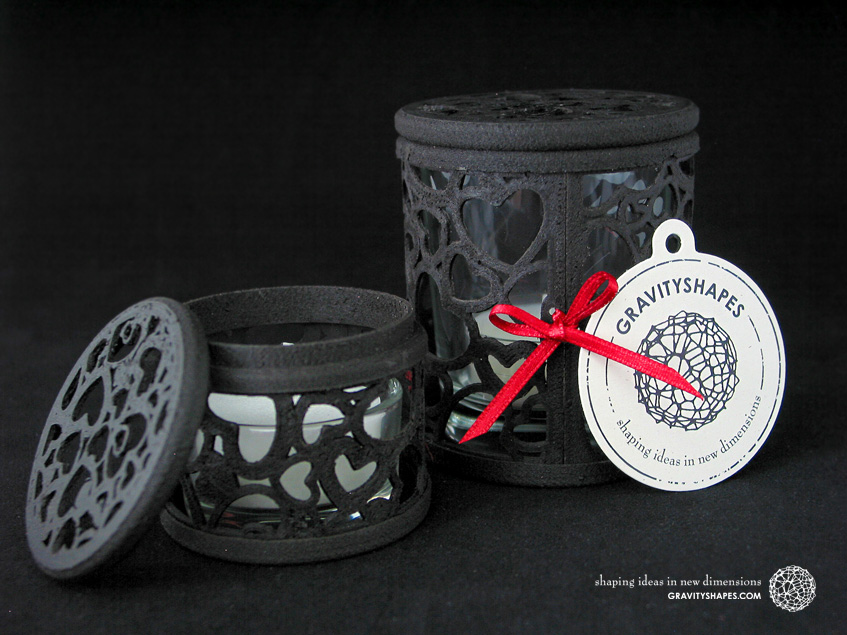 Small and large tealight boxes with lid, black wood