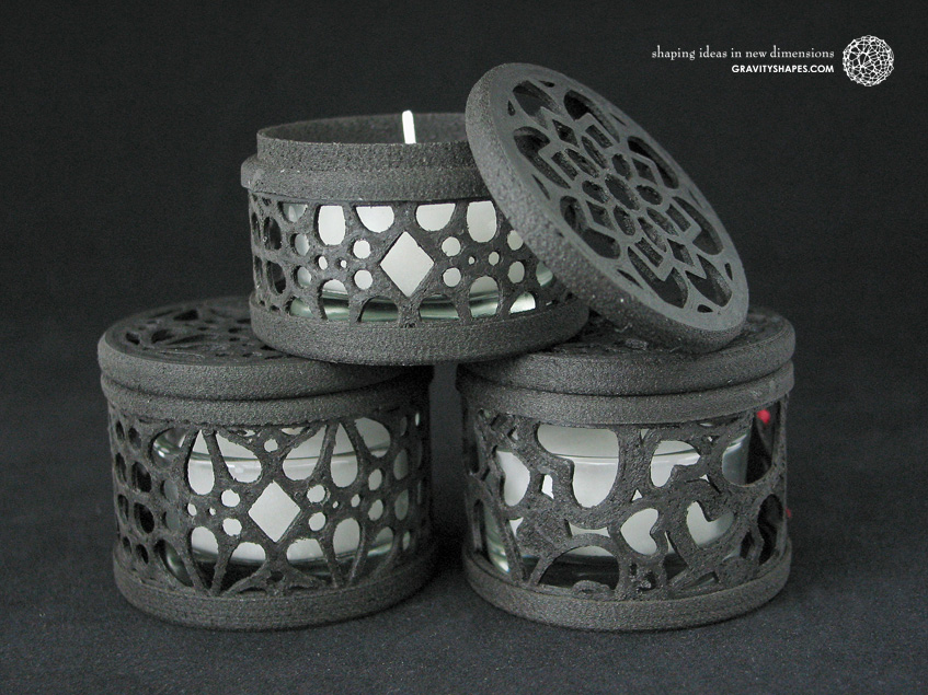 Small tealight boxes with lid, black wood