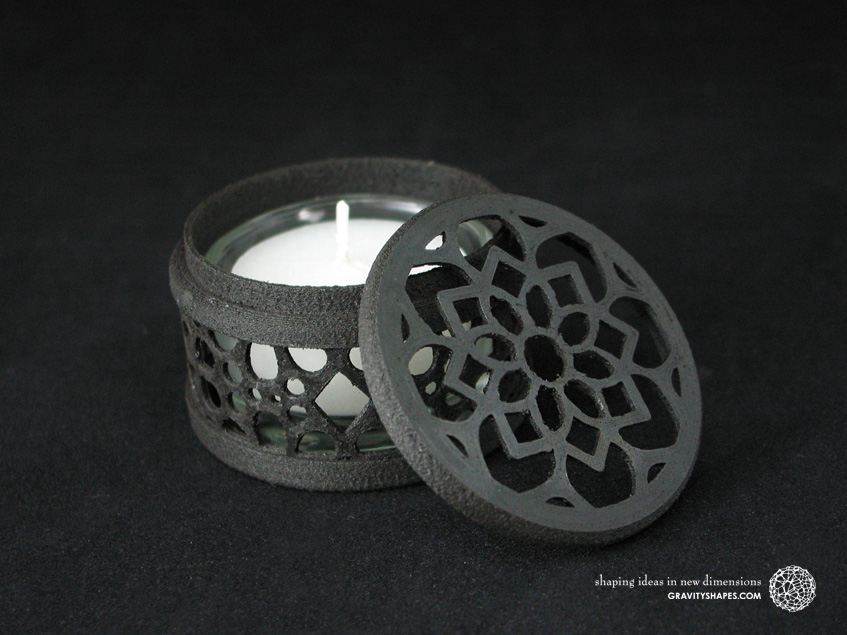 Small tealight box with lid, black wood