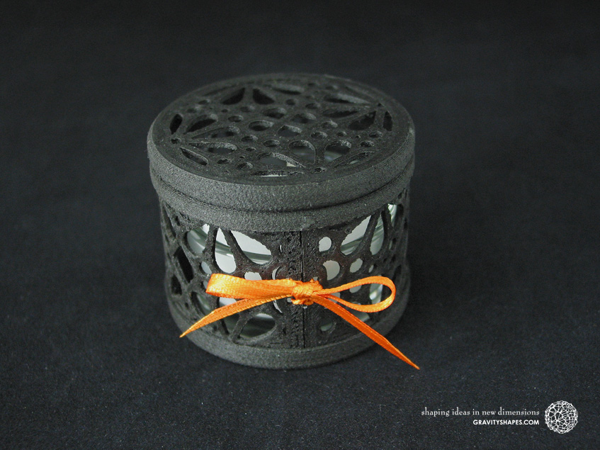Small 3D printed black wood Tealight holder box (Mosaic No. 3)