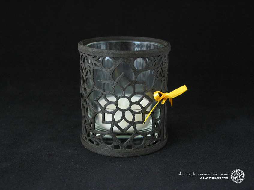 Large tealight holder, laced with mosaic 2 in black wood