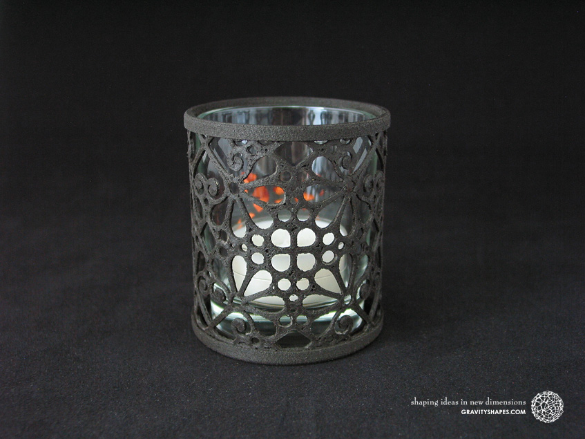 3D printed black wood Tealight holder (Mosaic No. 3a)