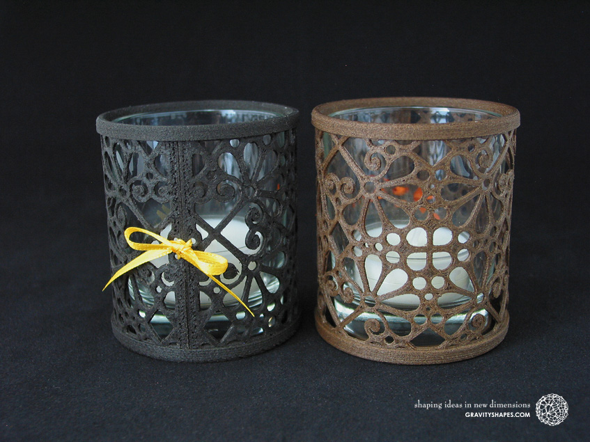 Large 3D printed black and brown wood Tealight holders (Mosaic No. 3)