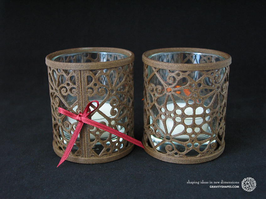 3D printed brown wood Tealight holders (Mosaic No. 3b and 3a)