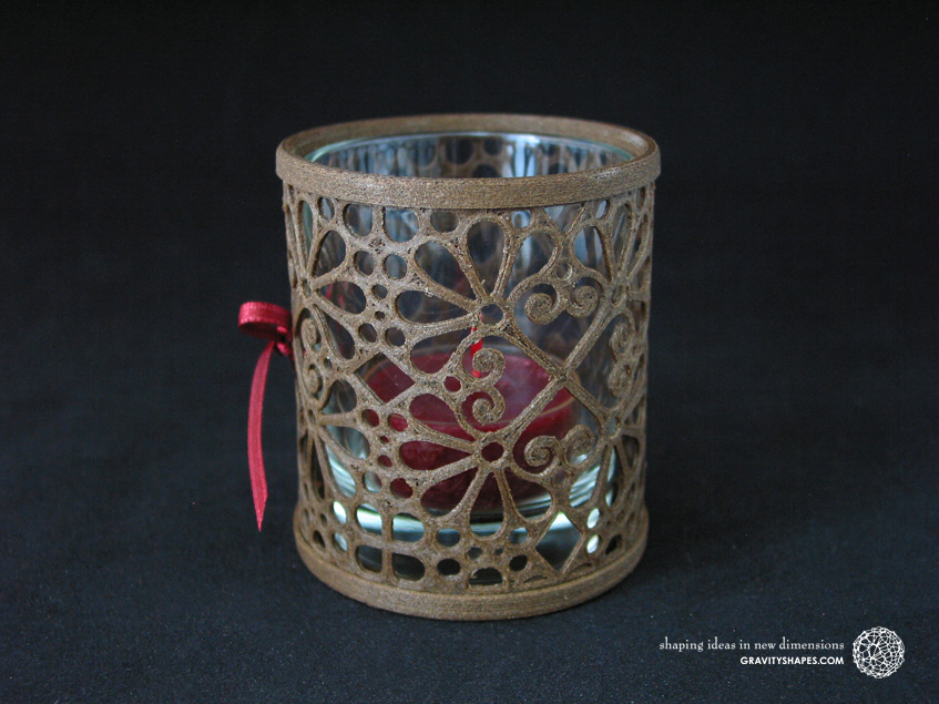 3D printed brown wood Tealight holder (Mosaic No. 3b)