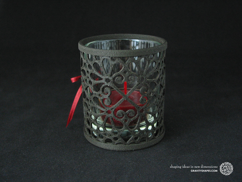 3D printed black wood Tealight holder (Mosaic No. 3b)