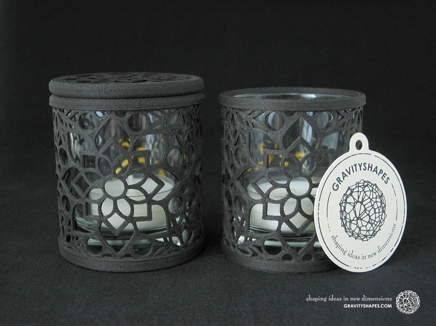 Large tealight holder with and without lid, laced with mosaic 2 in black wood