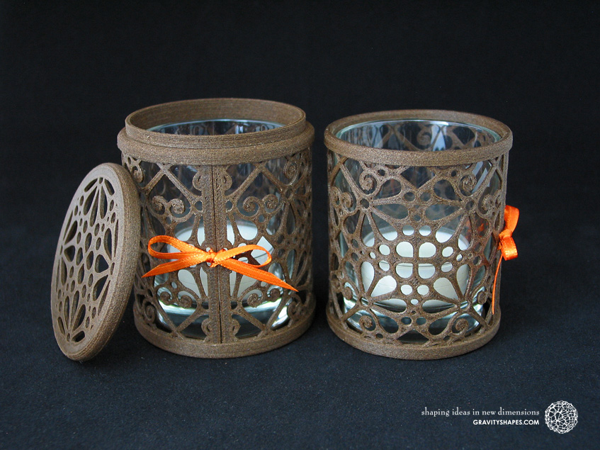 3D printed brown wood Tealight holders (Mosaic No. 3)