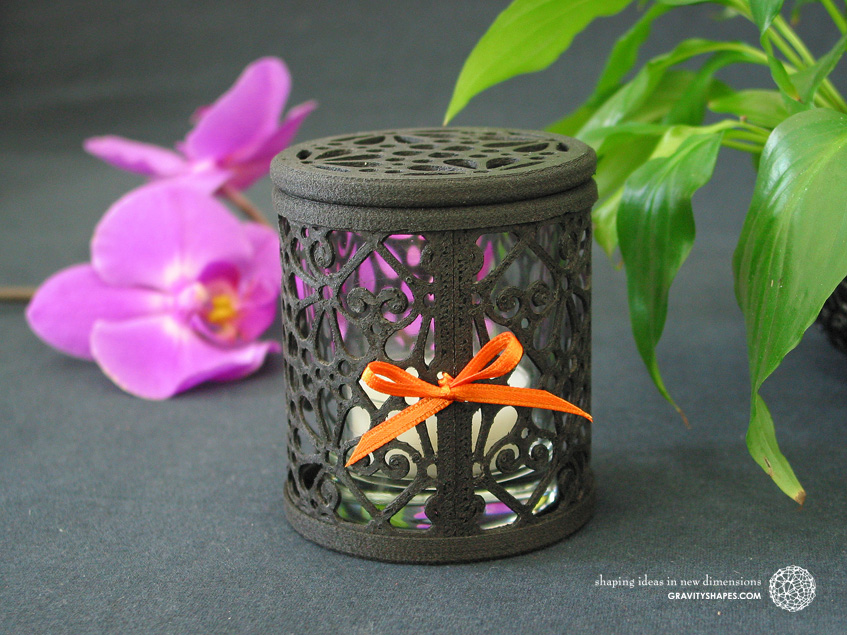 3D printed black wood Tealight holder box (Mosaic No. 3)