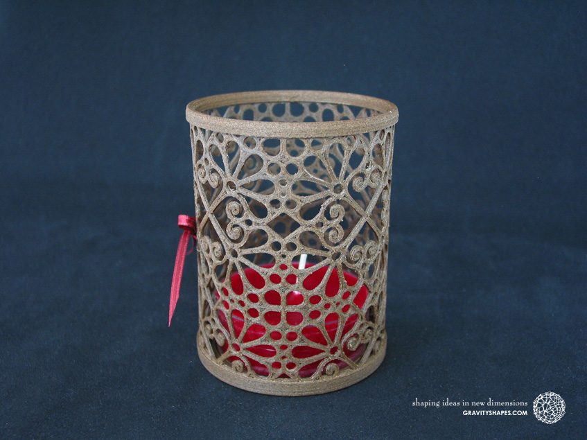 Medium wooden candle holder with a maxi tealight (Mosaic No. 3)