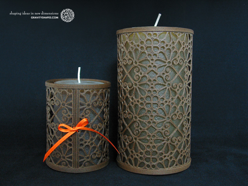 Medium and large wooden candle holders, laced (Mosaic No. 3)