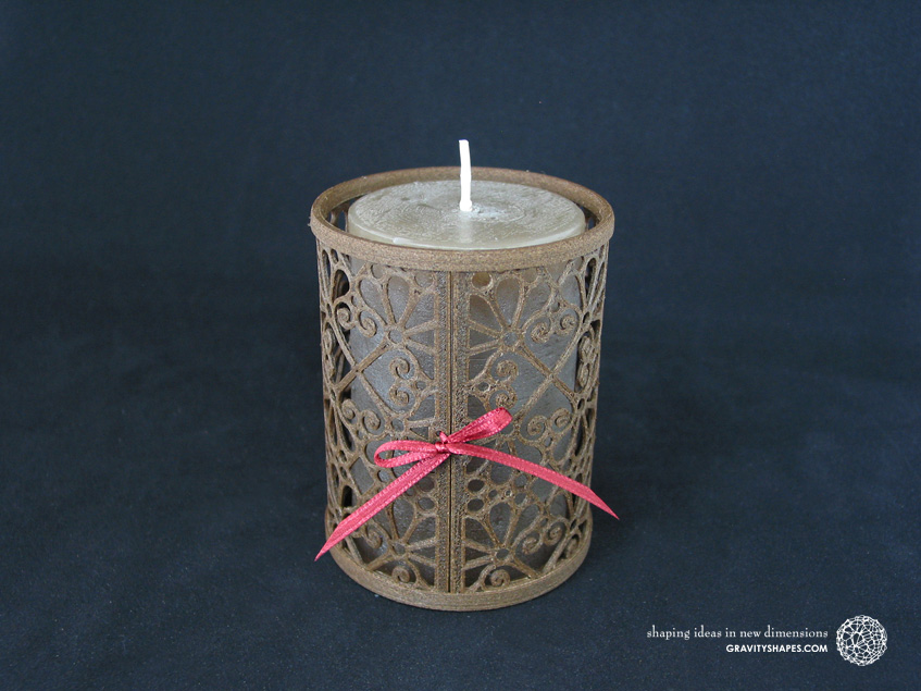 Medium wooden candle holder, laced (Mosaic No. 3)