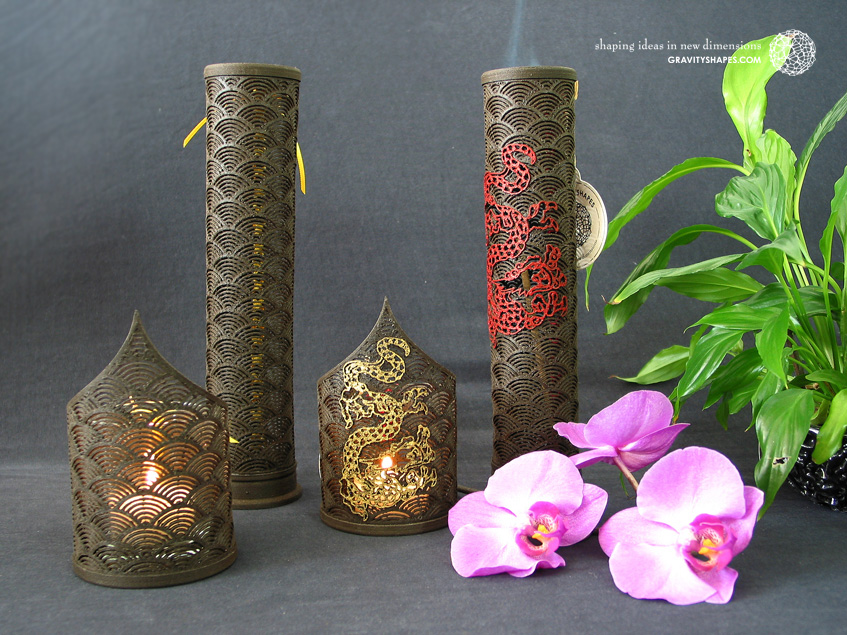 Wooden incense sticks towers laced (black with japan and japan with dragon design)