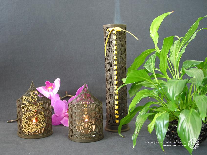 Wooden incense sticks tower laced (black in japan design)