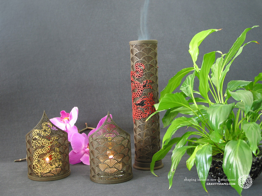 Wooden incense sticks tower laced (black in japan with dragon design)