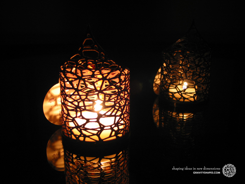 Pointed Tealight holders  with tealights (Voronoi no. 1) – 3D Prints with Wood