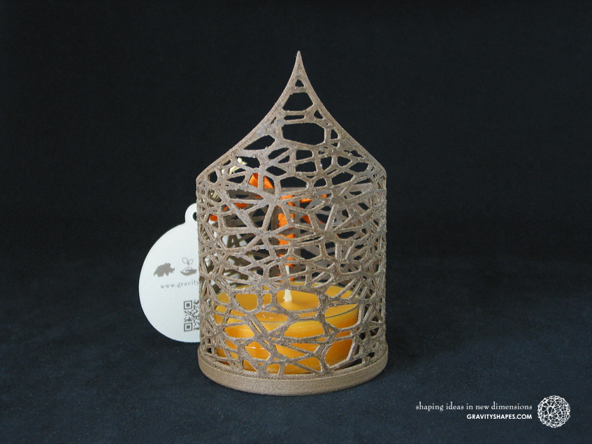 Pointed Tealight holder  with large scented tealight candle (Voronoi no. 1)