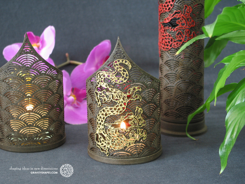 Pointed tealight holder with dragon (Wood 3D prints)