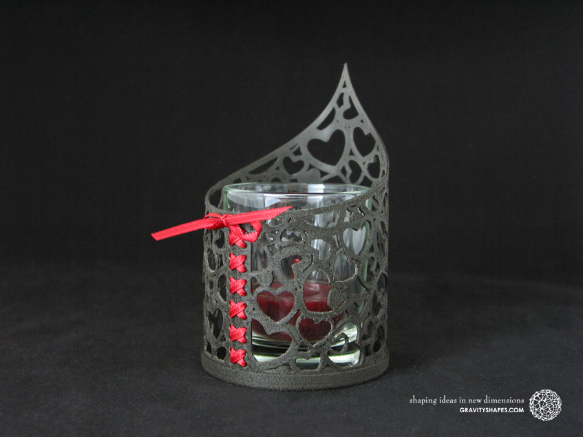 3D Print with black wood: Tealight holder (Heart no. 1)