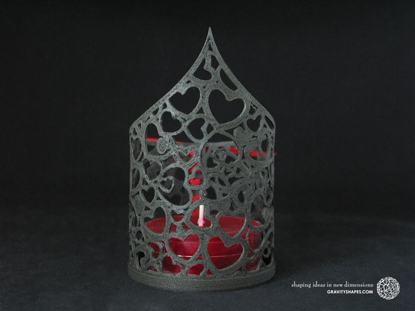 3D Print with black wood: Tealight holder with large tealight candle (Heart no. 1)