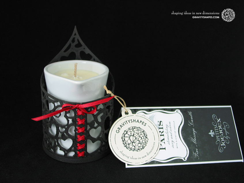 Tealight holder with Petits Joujoux massage scented candle in porcelain container (Hearts)